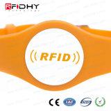 作業管理のためのオレンジ腕時計の形RFID PVCリスト・ストラップ