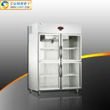 Doppi congelatore della visualizzazione del supermercato del portello e Governo di vetro del frigorifero