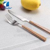 Edelstahl-hölzernes Muster-Nachtisch-Messer-Gabel-Tischbesteck-Set, silbernes Besteck