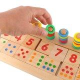 Brinquedo educacional das crianças logarítmicas de madeira da placa do anel do arco-íris da matemática para o miúdo que aprende cedo