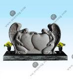 De gedetailleerde Snijdende het Huilen van de Grafsteen Witte Marmeren Grafsteen van de Engel in Stijl Ameican