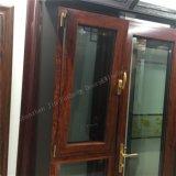 Hölzernes Korn-Wärmeübertragung-Aluminiumprofil-Doppelt-Glasflügelfenster/Markise Windows