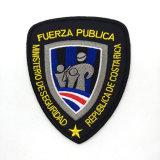 Etiqueta tecida emblema bordada do ombro do protetor para a roupa da polícia