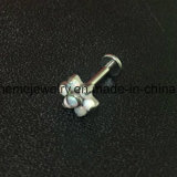 Het Titanium die van de Juwelen van het lichaam Labert met Steen (LAET005) doordringen