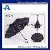 Gwp impresión personalizada C asa de doble capa de retroceso de la moda paraguas promocionales