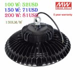 UL TUV LEIDENE van de Macht van Ce LEIDENE van het UFO van het Pakhuis van Dimmable van de Sensor van de Bestuurder 100With150With200W van Meanwell van de Hoge het Hoge Verlichting van de Baai Industriële Hoge Licht van de Baai