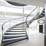 Diseño de interiores escaleras de madera maciza con baranda de vidrio
