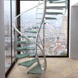 De Spiraalvormige Trede van het roestvrij staal met het Gelamineerde Loopvlak van het Glas
