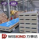 Paneles sándwich de poliuretano ignífugo rígido para la construcción de la fabricación de acero