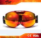 Lunettes faites sur commande de ski de neige de matériel de lunettes de casque de ski de courroie de surf sur neige de qualité