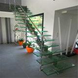 La moderna de la escalera de barandilla de acero inoxidable antideslizante con banda de rodadura de vidrio Escalera recta