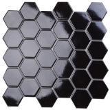 305x305mm color brilla en la oscuridad de cerámica negro mosaico hexagonal