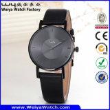 Montre-bracelet occasionnelle de dames de quartz de courroie en cuir de service des douanes (Wy-105A)