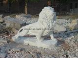 Statue animale en pierre de marbre beige/blanche de sculpture en jardin découpée par main, découpant en vente
