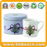 Caja de embalaje de regalo de metal personalizados taza Oval de estaño para promoción