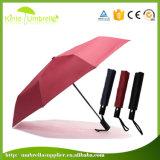 Opent Rode Zuivere Kleur 21 Duim 8 van de goede Kwaliteit het Handboek van Comités de Paraplu van 3 Vouwen