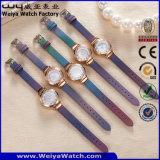 Relógio de pulso ocasional das senhoras do presente da cinta de couro da forma do ODM (Wy-093D)