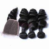 Les faisceaux de fils de trame de cheveux indiens Remy 100 % d'onde lâche des cheveux humains