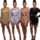 OEM-золотой полиэфирной основе Sexy длинными рукавами вечерние платья