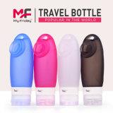 Botella reutilizable colgante del champú del silicón del recorrido de la línea aérea con la taza de la succión