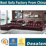La mejor calidad de color marrón de muebles de salón sofá de cuero auténtico (A848-1)