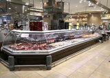 Refrigerador dianteiro do indicador do supermercado fino do vidro de deslizamento com 90 graus de canto