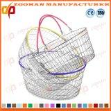 Cromo popular cesta chapeada do saco de compra do supermercado do fio de metal (Zhb146)