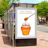 Со стороны улицы плакат на открытом воздухе прокрутки постоянного жилья Lightbox рекламы Mupi по шине CAN