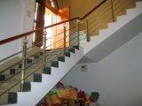 Escaliers d'usage de Chambre avec la balustrade de treillis métallique et la balustrade en bois