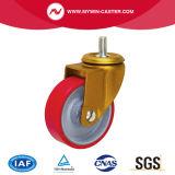 4 pouces de haut de la plaque de frein de roue de PU pivotant Roulettes industrielles