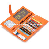 Бумажник повелительниц RFID портмона Bifold кожаный пасспорта длинний для перемещения