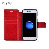 A aleta protetora magnética da carteira de couro vermelha para trás encaixota a tampa com as ranhuras para cartão para o iPhone 8
