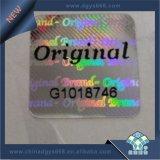 Escritura de la etiqueta original del holograma del diseño de la insignia de la compañía