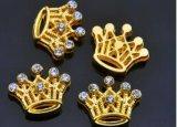 Barceletsおよびドッグカラーのための金のBlingの王冠の魅力そしてスライダ