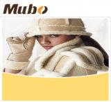 Casaco de pele de pele de carneiro genuíno Chapéu de moda feminina