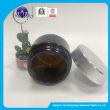 ふたによって包む化粧品のための50gこはく色のガラスクリーム色の瓶