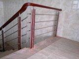 스테인리스 PVC 난간을%s 목제 강화 유리 계단