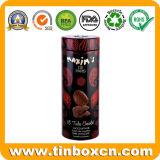 Коробка олова шоколада горячего сбывания изготовленный на заказ цилиндрическая темная с выбивать