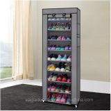 9 das Reihe-Schuh-Regal-Segeltuch-Gewebe-Schuh-Zahnstangen-Speicher-Schrank-Schiene bereift den Organisator-Reißverschluss, der Sapateira Organizador Möbel steht