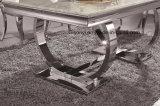 Meubles de salle de vie alternative de marbre blanc et noir en verre trempé Haut Table à café en acier inoxydable
