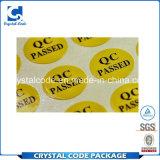Многоразово с ярлыками стикеров пропуска QC высокого качества