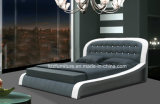 Het ronde Frame van het Bed van het Bed van het Leer van het Hoofdeinde Vastgestelde Moderne Houten