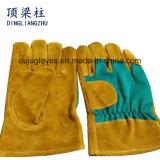 Желтые перчатки безопасности цвета, Cow перчатка работы Split кожи, кожаный перчатки заварки хлопка
