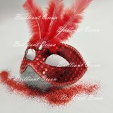 Costume Gala, Feather Glitter Mask, Women의 Mask를 위한 빨간 Masquerade Mask
