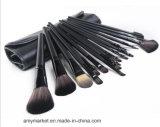 Herramientas cosméticas del maquillaje del cepillo de los cepillos del maquillaje de la fibra sintetizada con el bolso negro 18PCS de la PU