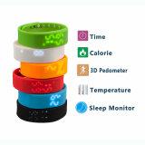Visualización del tiempo de la pulsera de W2 Smartband con el Wristband impermeable del monitor del sueño