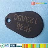 レーザーの番号付けID MIFARE標準的な1KナイロンOvermold RFID Keyfob Keychainの札