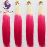 #613/Pink OmbreカラーケラチンUの先端のバージンの毛の拡張