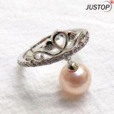女性のための銅の黄銅が付いている方法宝石類のジルコンの石のピンクの真珠のリング