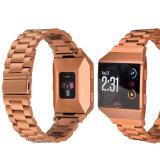 De oranje Riem van het Horloge van de Band van Fitbit van het Roestvrij staal van de Link van het Metaal Ionische